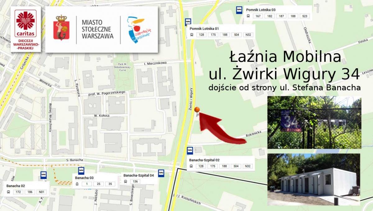 Łaźnia Mobilna  ul. Żwirki i Wigury 34