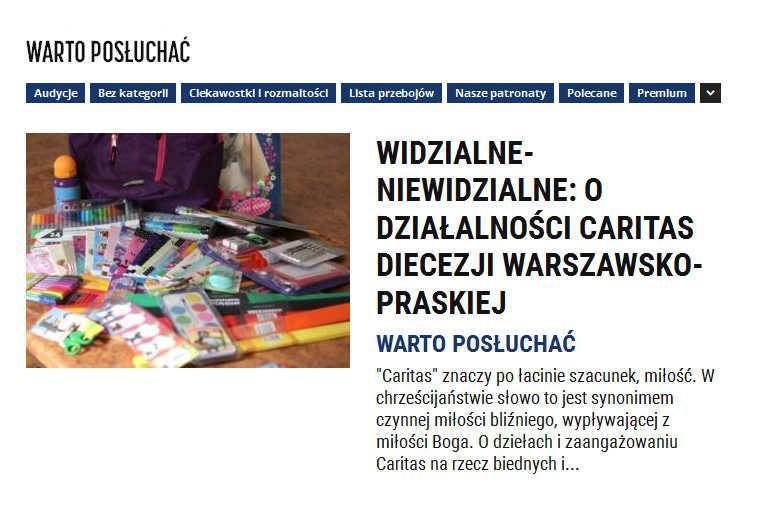 """""""Widzialne-niewidzialne"""" o Caritas w Radio Warszawa"""