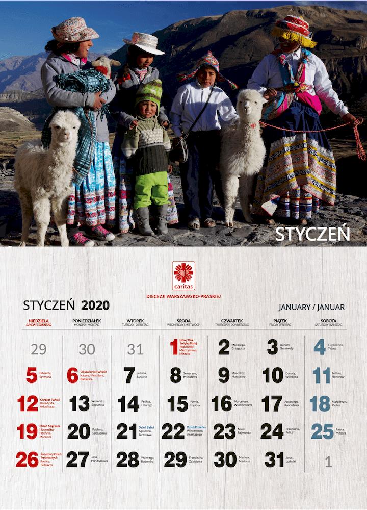 kalendarz Caritas 2020 - wnętrze